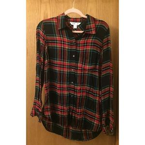 OLD NAVY BUTTON DOWN PLAID TOP